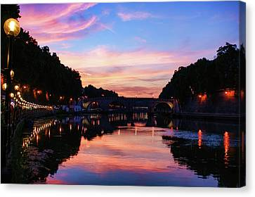 Impressions Of Rome - Divine Sky And A Necklace Of Lights Along Tiber River Canvas Print