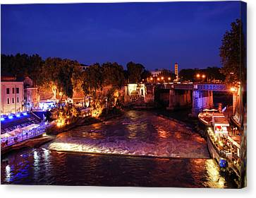Eternal Flow Canvas Print - Impressions Of Rome - Summer Festival On The Banks Of Tiber River by Georgia Mizuleva