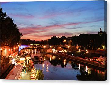 Eternal Flow Canvas Print - Impressions Of Rome - Summertime Festival On The Banks Of Tiber River by Georgia Mizuleva