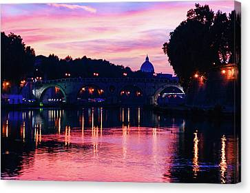 Eternal Flow Canvas Print - Impressions Of Rome - Tiber River Silky Current In Pink And Purple by Georgia Mizuleva
