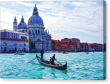 Impressions Of Venice Italy - Traghetto Crossing The Grand Canal Canvas Print by Georgia Mizuleva