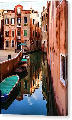 Impressions Of Venice - Wandering Around The Small Canals Canvas Print by Georgia Mizuleva