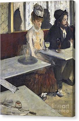 In A Cafe Or The Absinthe Canvas Print by MotionAge Designs
