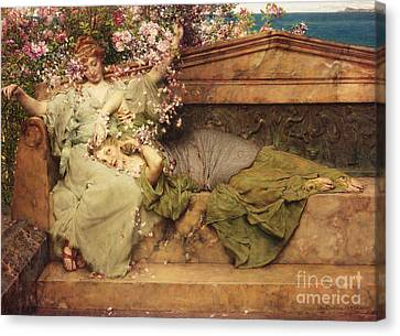 In A Rose Garden Canvas Print by Sir Lawrence Alma-Tadema