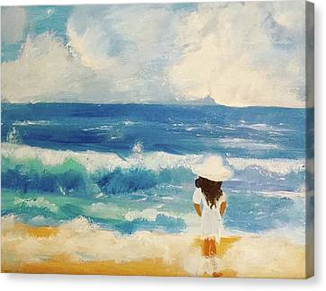 In Awe Of The Ocean Canvas Print by Angela Holmes