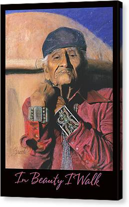 In Beauty I Walk - Original Pastel - Navajo Medicine Man Canvas Print