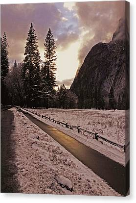 Canvas Print featuring the photograph In Between Snow Falls by Walter Fahmy