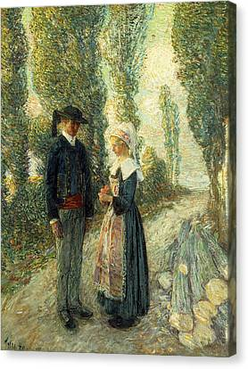 In Brittany Evening Hour Pont Aven Canvas Print by Childe Hassam
