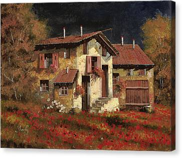 In Campagna La Sera Canvas Print by Guido Borelli
