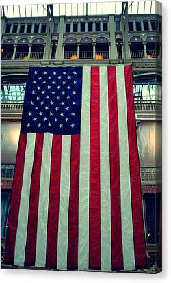 In God We Trust American Flag Milwaukee Wi Canvas Print by Laura Pineda