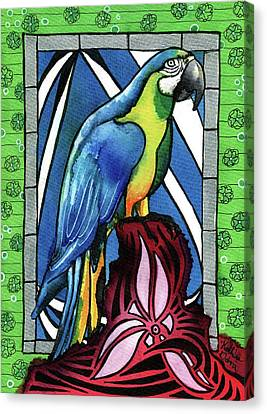 Canvas Print featuring the painting In Love With A Macaw by Dora Hathazi Mendes