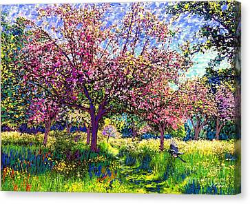 Magpies Canvas Print - In Love With Spring, Blossom Trees by Jane Small