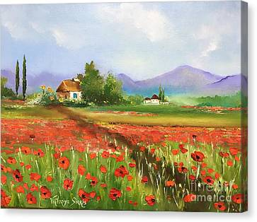 Pallet Knife Canvas Print - In Love With Toscana's Poppies by Viktoriya Sirris