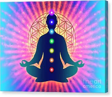 Energy Mandalas Canvas Print - In Meditation With Chakras - Artwork 4 by Dirk Czarnota