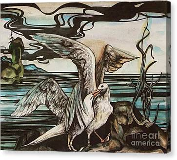 Canvas Print featuring the drawing In Memory Of Deceased Friend. by Anna  Duyunova