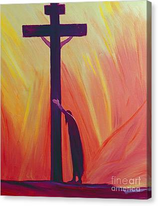 In Our Sufferings We Can Lean On The Cross By Trusting In Christ's Love Canvas Print by Elizabeth Wang