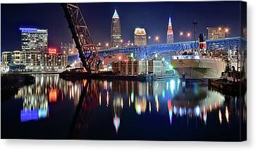 In Port For Winter Panorama Canvas Print by Frozen in Time Fine Art Photography