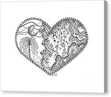 Repaired Heart Canvas Print by Ana V Ramirez