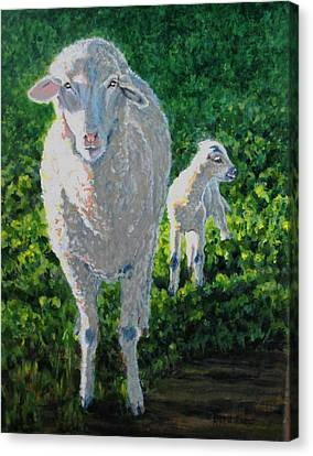 Canvas Print featuring the painting In Sheep's Clothing by Karen Ilari