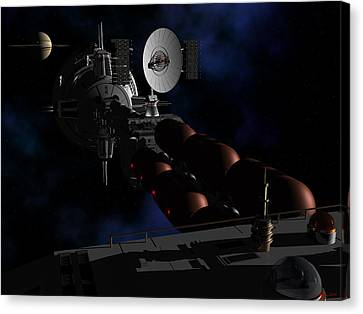 Canvas Print featuring the digital art In Sight Of Saturn by David Robinson