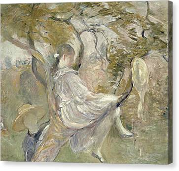 In The Apple Tree Canvas Print by Berthe Morisot