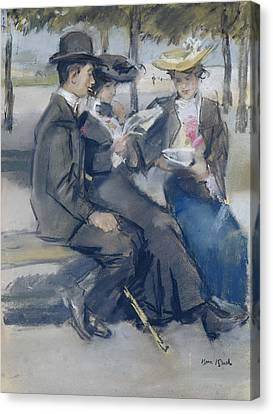 In The Bois De Boulogne Close To Paris Canvas Print by Isaac Israels
