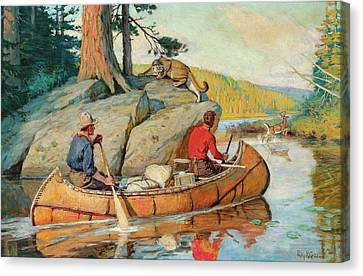 In The Canoe Canvas Print by Philip R Goodwin