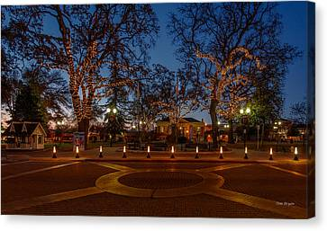 In The Center Of Town At The Crack Of Dawn Canvas Print by Tim Bryan