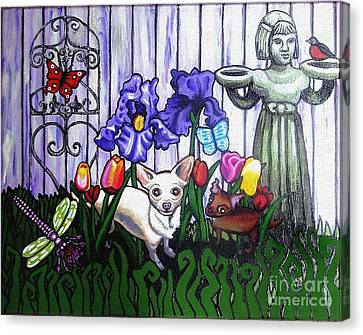 In The Chihuahua Garden Of Good And Evil Canvas Print by Genevieve Esson