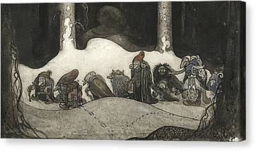 In The Christmas Night  Canvas Print by John Bauer