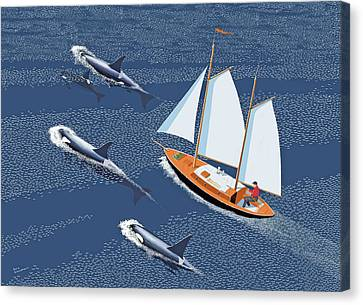 Canvas Print featuring the digital art In The Company Of Whales by Gary Giacomelli