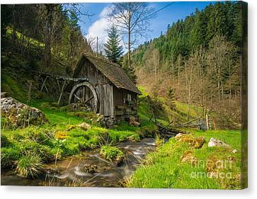 In The Countryside - Old Barn Near River Canvas Print by Thomas Jones