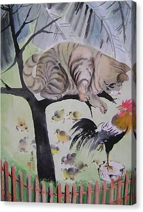 In The Courtyard Canvas Print by Lian Zhen