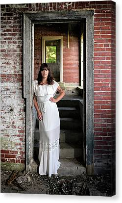 Canvas Print featuring the photograph In The Doorway by Rick Berk