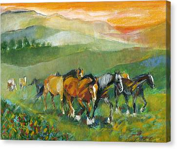 In The Field Canvas Print by Mary Armstrong