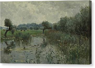 In The Floodplains Of The River Ijssel Canvas Print by Willem Roelofs