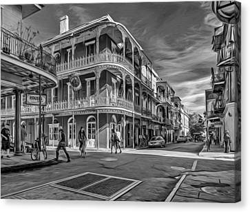 In The French Quarter - 2 Paint Bw Canvas Print by Steve Harrington