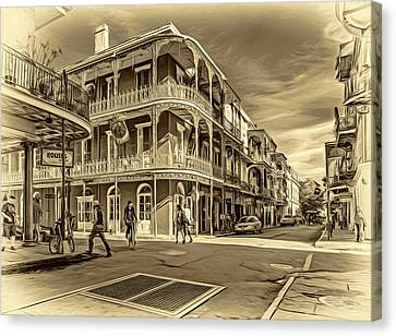 In The French Quarter - 2 Sepia Canvas Print by Steve Harrington
