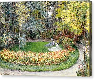 Le Jardin Canvas Print - In The Garden, 1875 by Claude Monet