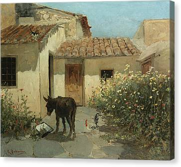 In The Garden  Canvas Print by Konstantinos Volanakis
