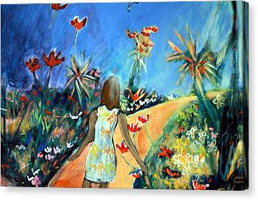 Canvas Print featuring the painting In The Garden Of Joy by Winsome Gunning