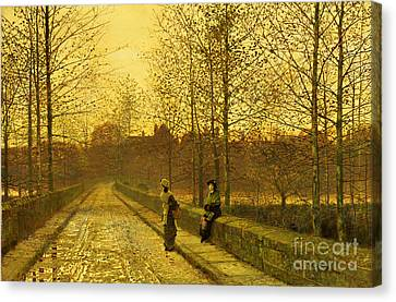 Bare Trees Canvas Print - In The Golden Gloaming by John Atkinson Grimshaw