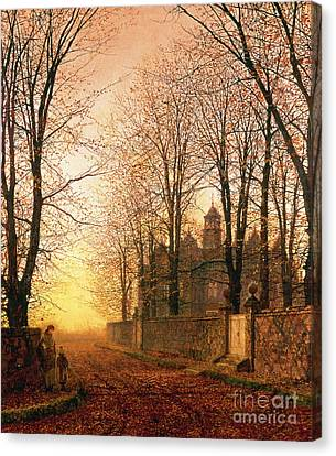 Bare Trees Canvas Print - In The Golden Olden Time by John Atkinson Grimshaw