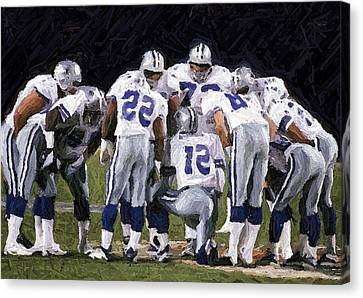 In The Huddle Canvas Print by Carrie OBrien Sibley