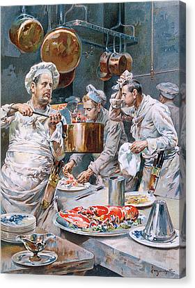 In The Kitchen Canvas Print by G Marchetti