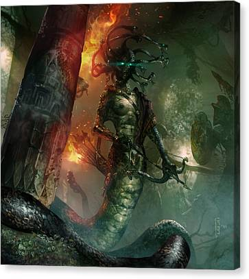 Gorgon Canvas Print - In The Lair Of The Gorgon by Ryan Barger