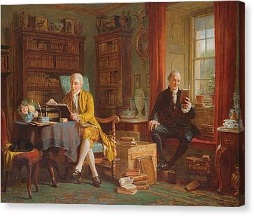 In The Library Canvas Print by John Watkins Chapman