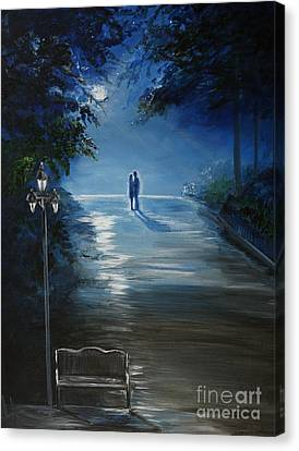 In The Loving Moonlight Canvas Print by Leslie Allen