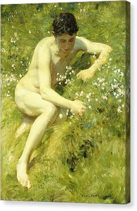 In The Meadow Canvas Print by Henry Scott Tuke