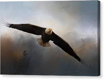 Eagle In Flight Canvas Print - In The Midst Of The Storm by Jai Johnson